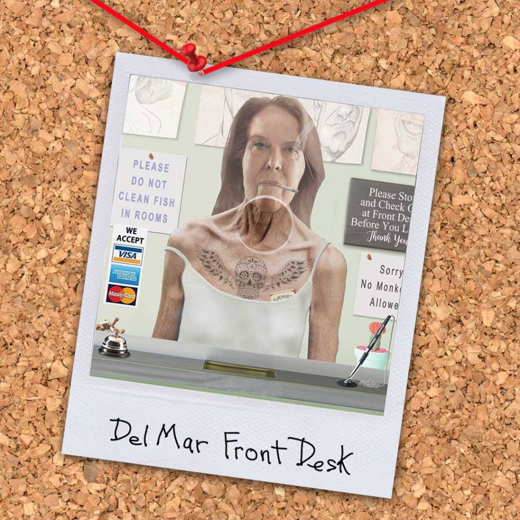"""Del Mar Front Desk from the novel """"Morningwood"""" by Perry V Wade."""