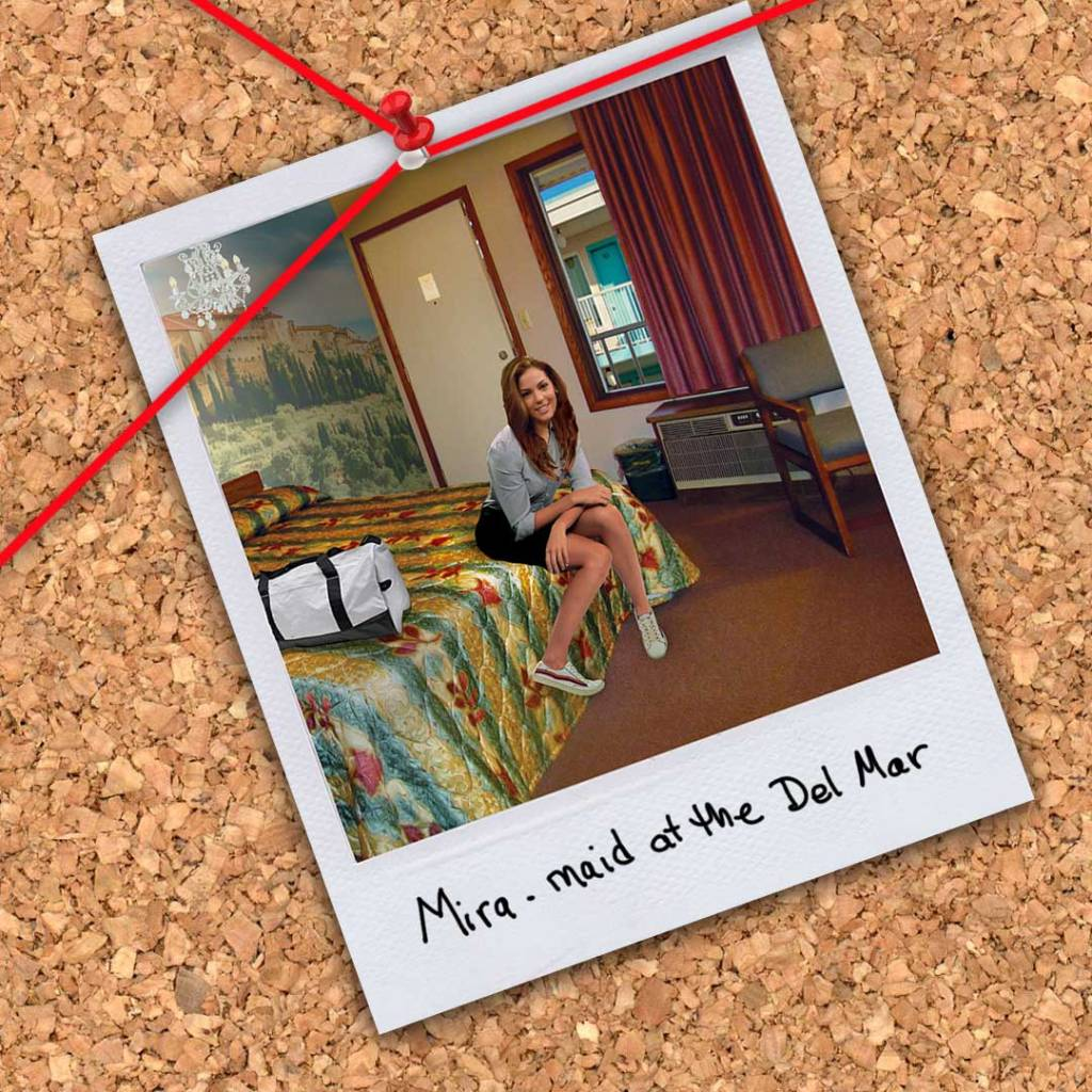 """Mira maid at the Del Mar from the novel """"Morningwood"""" by Perry V Wade."""